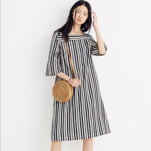 NWT Madewell Square Neck Midi Dress Evelyn Stripe